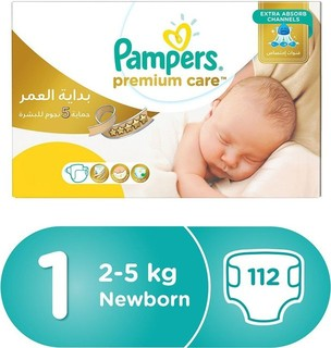 Pampers Premium Care Diapers, Size 1, Newborn, 2-5 kg, Mega Box, 112 Count