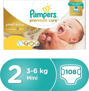 Pampers Premium Care Diapers, Size 2, Mini, 3-6 kg, Mega Box, 108 Count