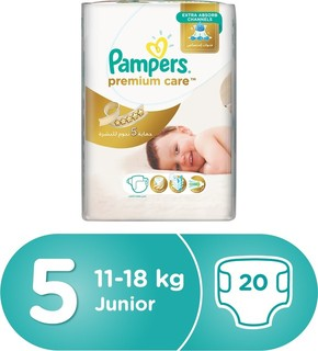 Pampers Premium Care Diapers, Size 5, Junior, 11-18 kg, Carry Pack, 20 Count