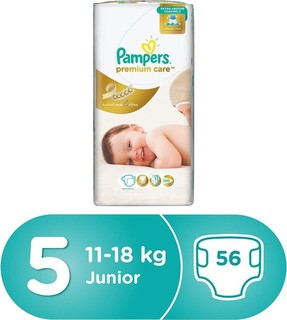 Pampers Premium Care Diapers, Size 5, Junior, 11-18 kg, Jumbo Pack, 56 Count