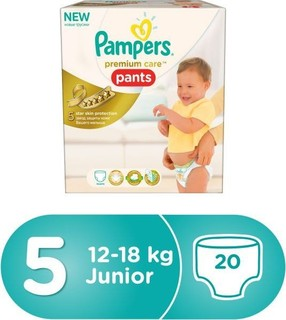 Pampers Premium Care Pants Diapers, Size 5, Carry Box - 12-18 kg, 20 Count