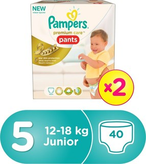 Pampers Premium Care Pants Diapers, Size 5, Double Carry Box - 12-18 kg, 40 Count