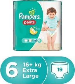 Pampers Pants Diapers Size 6, Extra Large, 16+ kg, Carry Pack, 19 Count