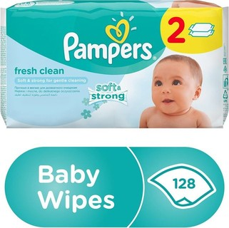 Pampers Fresh Clean Baby Wipes, Dual Pack, 128 Count