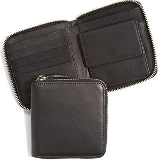 Leatherology Small Zippered Wallet - Full Grain Leather - RFID Black Onyx (black)