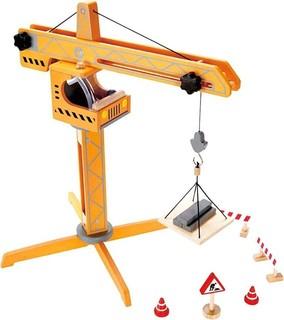 Hape Wooden Crane Lift Orange