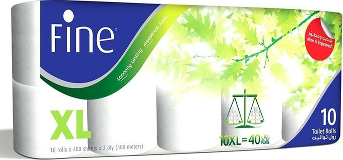 FINE Toilet Paper Extra Long, 10 Rolls, 400 Sheets Roll, 2 ply
