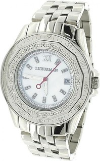 Luxurman White Stainless White dial Watch for Women's 967466