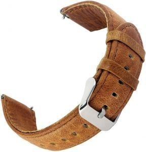 Leather Band With Steel Clasp For Samsung Gear S3 Classic and Gear S3 Frontier - Brown