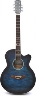 Carlos F511ce Semi-Acoustic Guitar - Blue - Include Free Softace