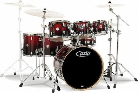PDP(Pacific Dums Percussion) PDP Concept Maple 7-Piece Drum Shell Pack - Red to Black Sparkle Fade ( WITHOUT CYMBALS )