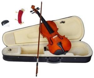 Solid Wood Satin Antique Violin with Hard Case, Shoulder Rest and Practice Mute