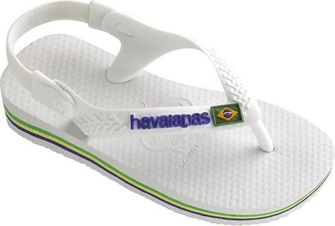 Havaianas Baby Brasil Logo White Flip Flops