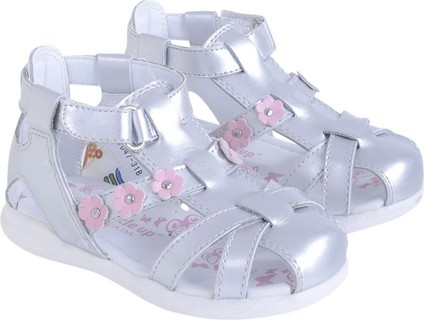 Buckle Up Silver With Pink Flowers Sandals