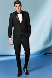 Black Wool Blend Tuxedo Suit: Jacket
