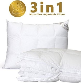Lekeez King: 3-in-1 Adjustable Polyester Filling Microfiber Pillow, in Luxury Quilted Zipper pillowcase, Hypo-Allergenic with 1-year Warranty. Premium Hot...