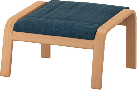 PO NG Footstool, beech veneer, Hillared dark blue