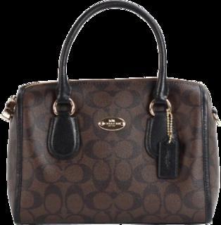 Coach F36702-IMAA8 Signature Mini Bennett Black Leather Satchel Bag