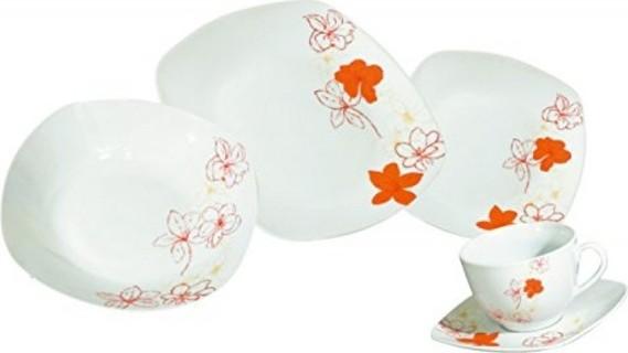 Ruby Compass Arte Viva 30-Piece Tosca Porcelain Dinnerware Place Setting,Orange, Serving for 6