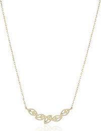Fashion Jewellery 10k Gold Swarovski Zirconia with Five Leaves Pendant Necklace, 16