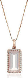 Fashion Jewellery 10k Pink Gold Rose Quartz and Created White Sapphire Pendant Necklace, 18'' for Women