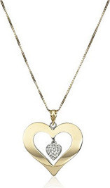Fashion Jewellery Bonded 10k Gold and Silver Heart with Crystal Dangle Necklace, 18