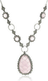 Fashion Jewellery Sterling Silver Marcasite and Milky Faceted Rose Quartz Y-Shaped Necklace, 17