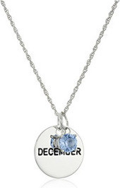 Fashion Jewellery Sterling Silver Month Disc with Swarovski Crystal Birthstone Pendant Necklace, 18 for Women