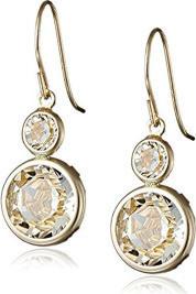 Fashion Jewellery 10K Yellow Gold Swarovski Elements Round Cut Dangle Earrings for Women