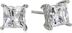 Fashion Jewellery Platinum or Gold-Plated Sterling Silver Swarovski Zirconia Princess-Cut Stud Earrings for Women