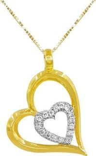Teleios Luxe 18K Gold 0.08CT Diamonds Intimate Heart Necklace - TL0000047 939