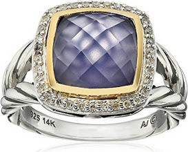 Fashion Jewellery SG Sterling Silver and 14k Yellow Gold Cushion Cut Blue Chalcedony with Diamond Ring, Size 7 for Women 1 10cttw, I-J Color, I2-I3 Clarity