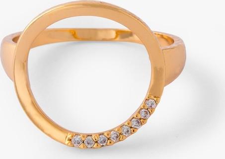Orelia Open Circle Half Crystal Ring