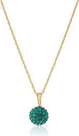 Fashion Jewellery 10k Yellow Gold Swarovski Zirconia 10mm Ball Pendant Neacklace,18