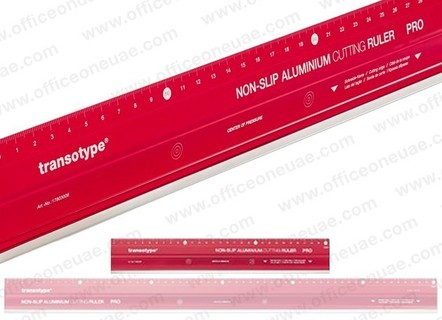 Transotype Non-Slip Aluminum Cutting Ruler Pro 30 cm with steel-cutting edge, Red
