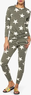 High Streets Khaki Star Print Loungewear Set