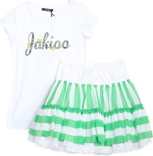 Monnalisa Set 2pcs White Shirt And Green Stripe Skirt