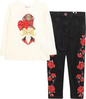 Monnalisa Set 2pcs White Shirt And Red Floral Jeans