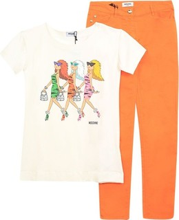 Moschino Set 2pcs White Shirt And Orange Jeans