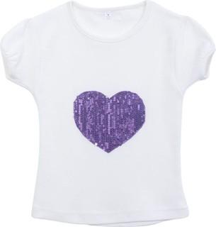 Le Coccole White Cotton Tshirt With Glitter Heart Purple