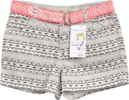 Gingersnaps Cream & Black Shorts With Belt