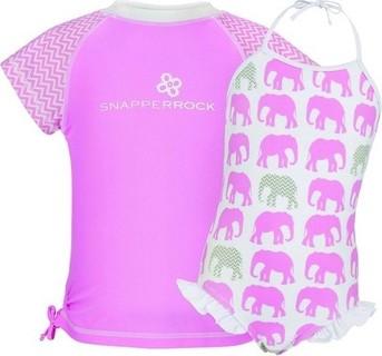 Snapper Rock Elephant Print Swimsuit Set - Pink