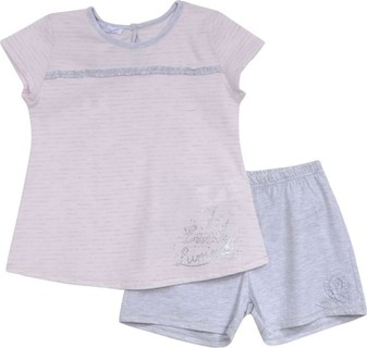 Absorba Pale Pink & Grey Glitter Pyjama Set