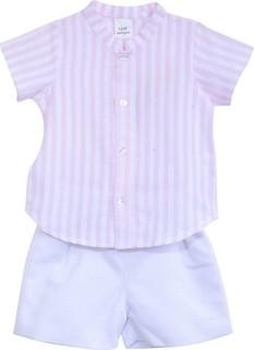 Sofia & Lola Light Pink & White Striped Top & Shorts Set