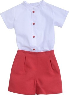 Sofia & Lola White Top & Red Shorts Set
