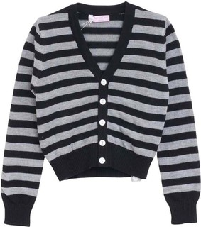 Lovely Lace Baby Black & Grey Striped Cardigan