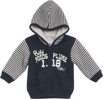 Absorba Black & White Hooded Zip-Up Jumper With Fleece Lining