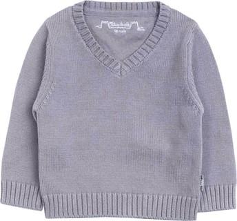 Chateau de Sable Grey Knitted V-Neck Jumper