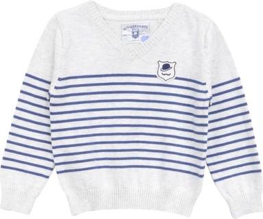 Gingersnaps Light Grey & Blue Striped V-Neck Jumper