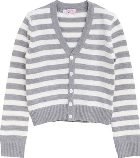 Lovely Lace Baby Off White & Grey Striped Cardigan